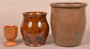 Three Pieces of Glazed Antique Redware.