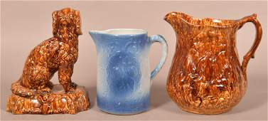Three Pieces of Glazed Antique Pottery.