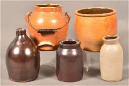 Five Various Pieces of Harrisburg, PA Glazed Stoneware.