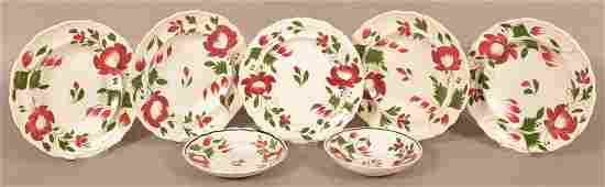 Seven Pieces of Staffordshire Early Adams Rose China.