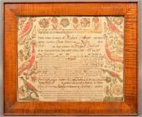 Johann Heinrich Otto Fraktur Birth Certificate.