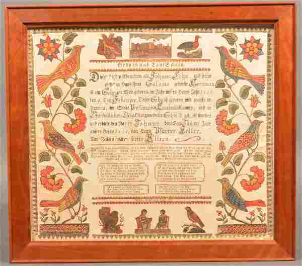 Friederich Sanno Printed and Hand Colored Fraktur.