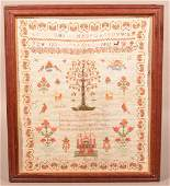 Mary German Adam and Eve Sampler Dated 1843.