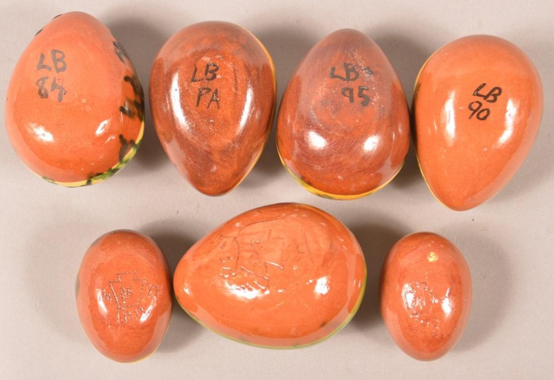 7 Breininger Redware Sgrafitto Decorated Eggs. - 2