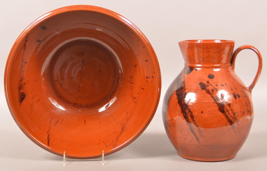Breininger Large Redware Pitcher and Bowl. - 2