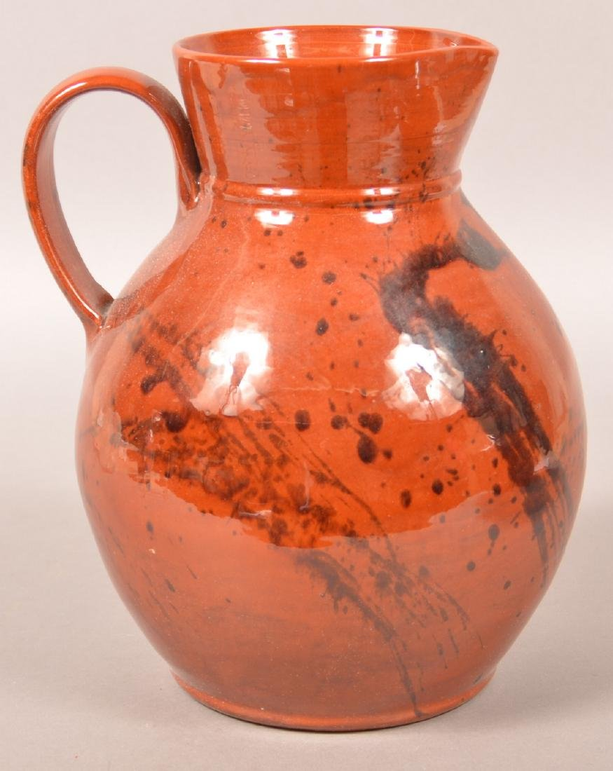 Breininger Large Redware Pitcher and Bowl. - 3