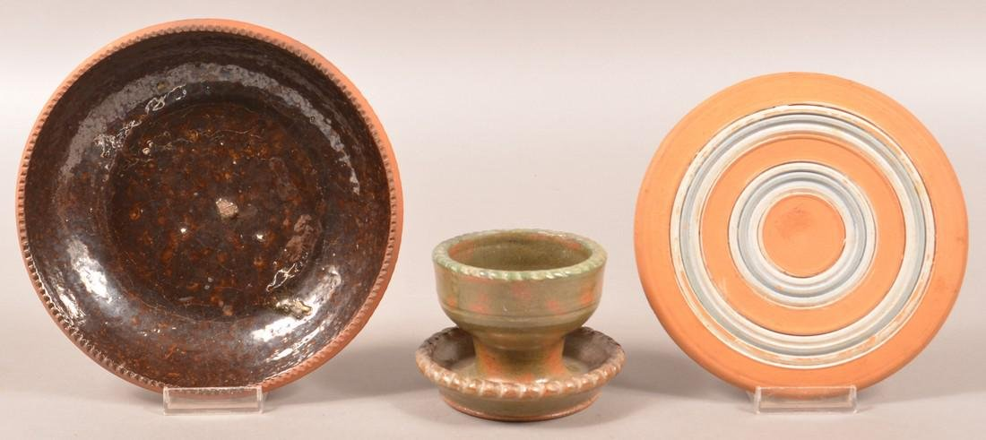 Three Pieces of Stahl Redware Pottery.