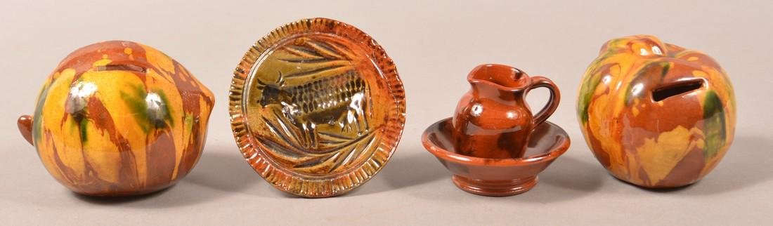 Four Pieces of Breininger Redware Pottery.