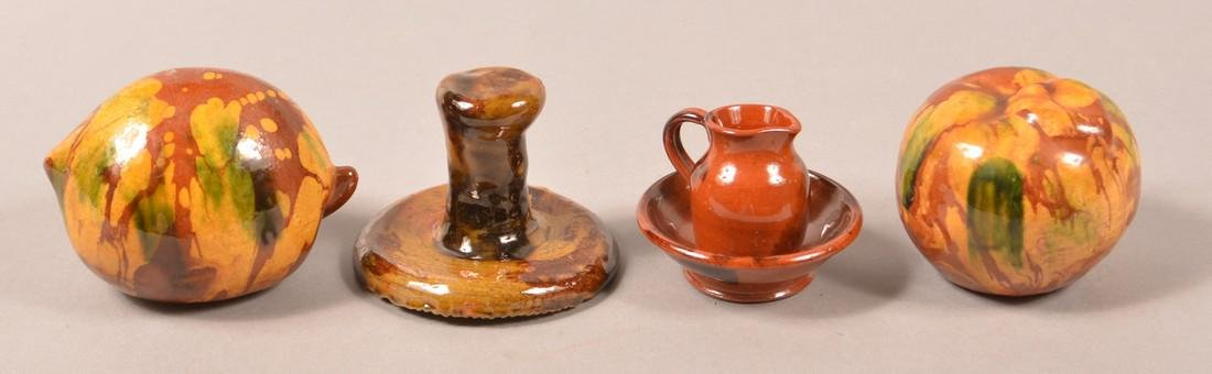 Four Pieces of Breininger Redware Pottery. - 2