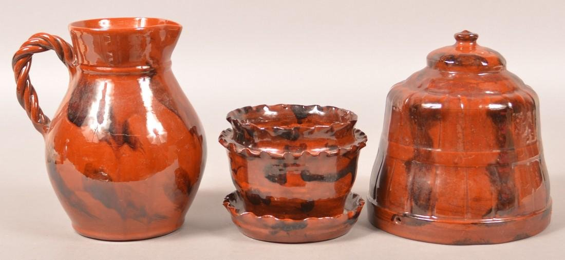 3 Pieces of Breininger Glazed Redware Pottery.