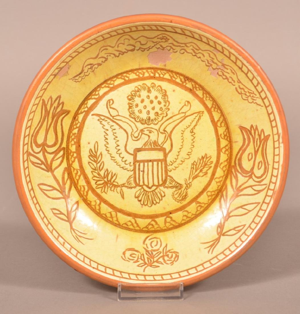 Stahl Pottery Sgrafitto Decorated Pie Plate.