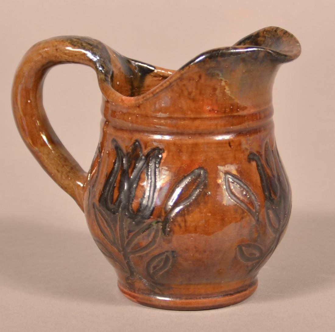 Stahl Pottery Sgrafitto Decorated Cream Pitcher.