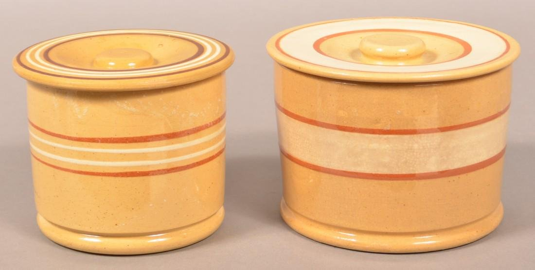 Two Yellowware Band Decorated Canisters.