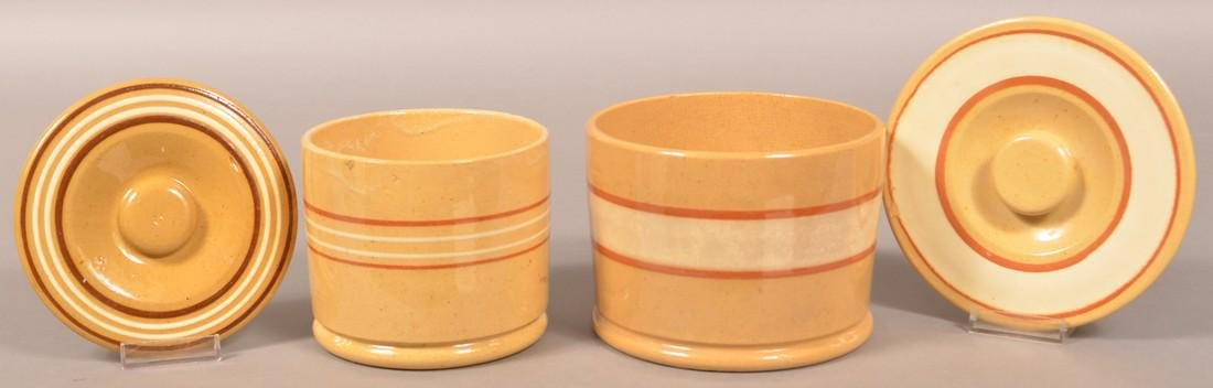 Two Yellowware Band Decorated Canisters. - 2
