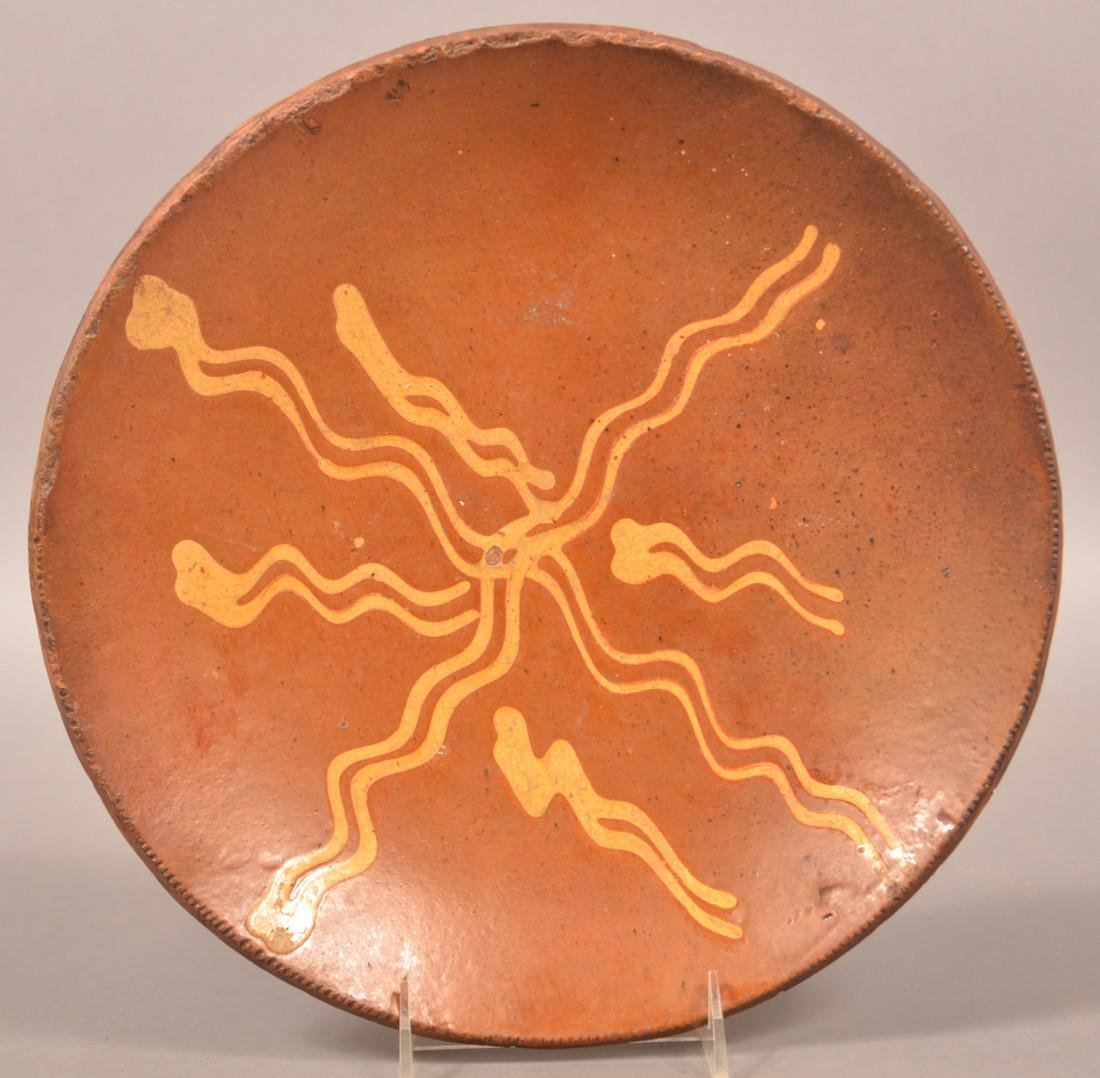 19th Century Redware Slip Decorated Plate.