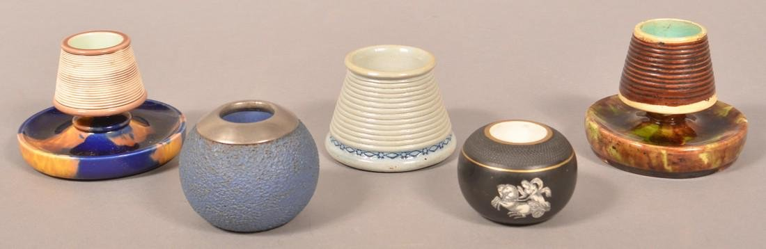 Five Various Pottery/Ceramic Match Safes. - 2