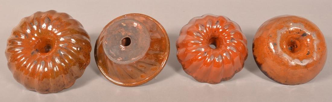 Four Various Glazed Redware Turks Molds. - 3
