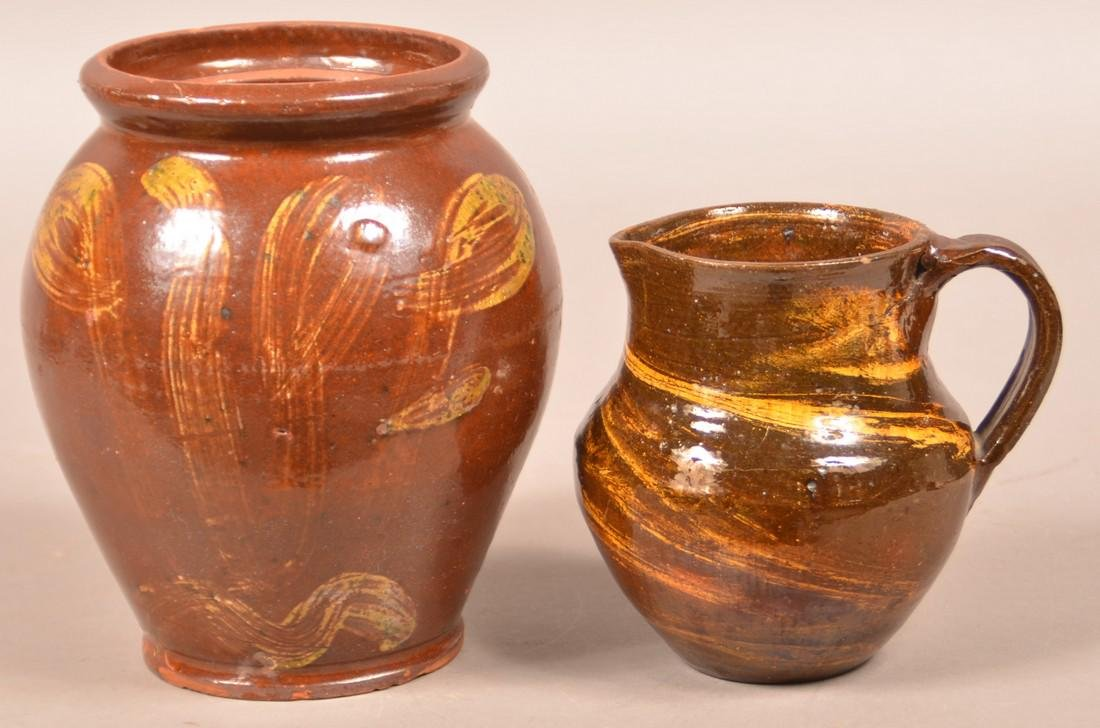 Two Pieces of 19th Century Glazed Redware.