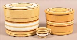 Three Pieces of Antique Yellowware Pottery.