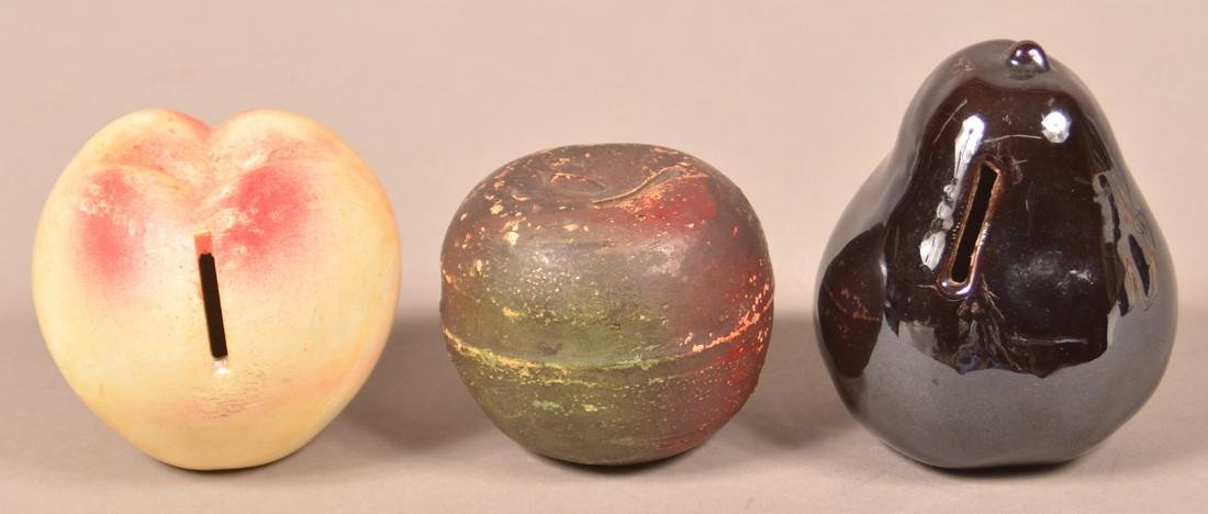 3 Various Antique Pottery Fruit Form Still Banks.