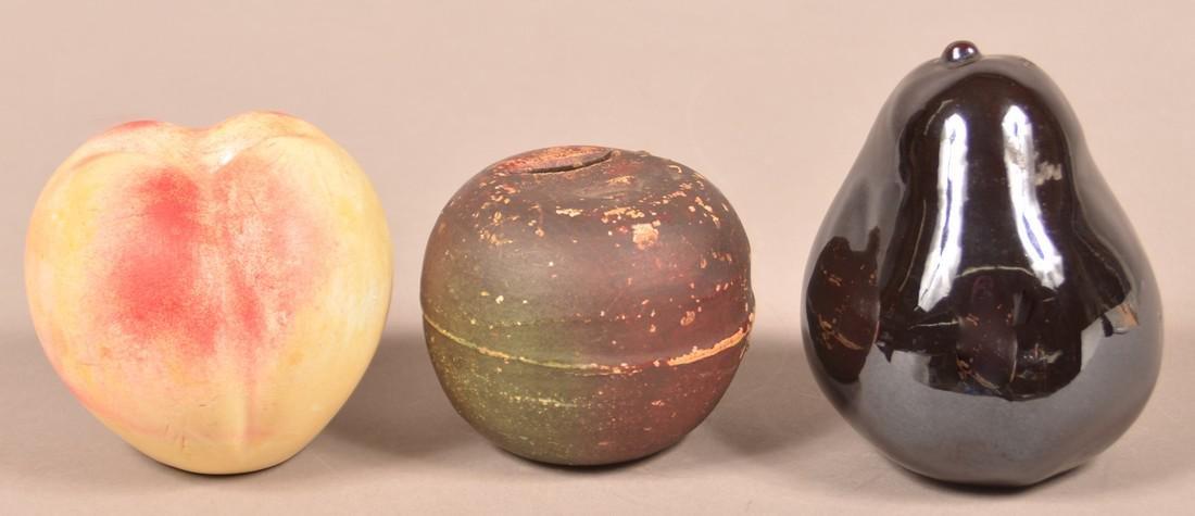 3 Various Antique Pottery Fruit Form Still Banks. - 2