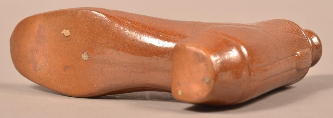 Brown Glazed Stoneware Shoe Form Flask. - 3
