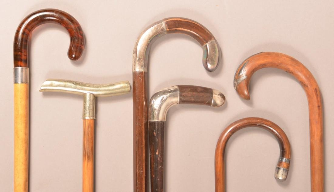 Six Antique/Vintage Silver Mounted Canes. - 2