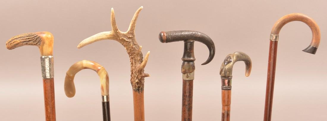 Six Antique/Vintage Horn and Stag Grip Canes.