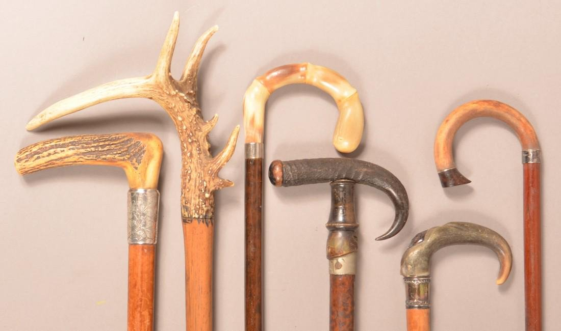 Six Antique/Vintage Horn and Stag Grip Canes. - 2
