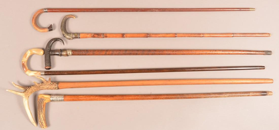 Six Antique/Vintage Horn and Stag Grip Canes. - 3