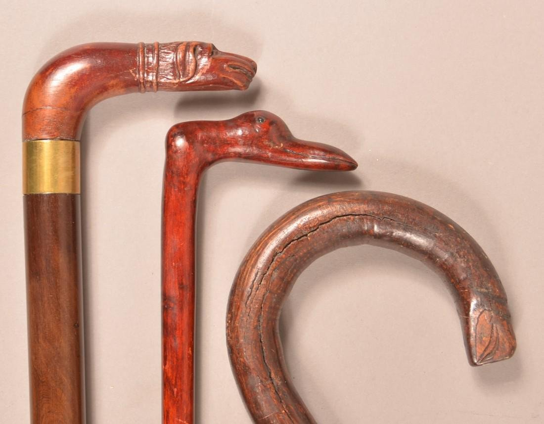 3 Antique/Vintage Carved Animal Head Canes. - 4