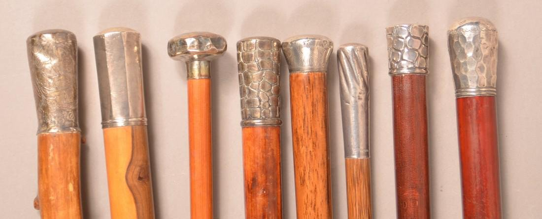 Eight Antique/Vintage Silver Mounted Canes.