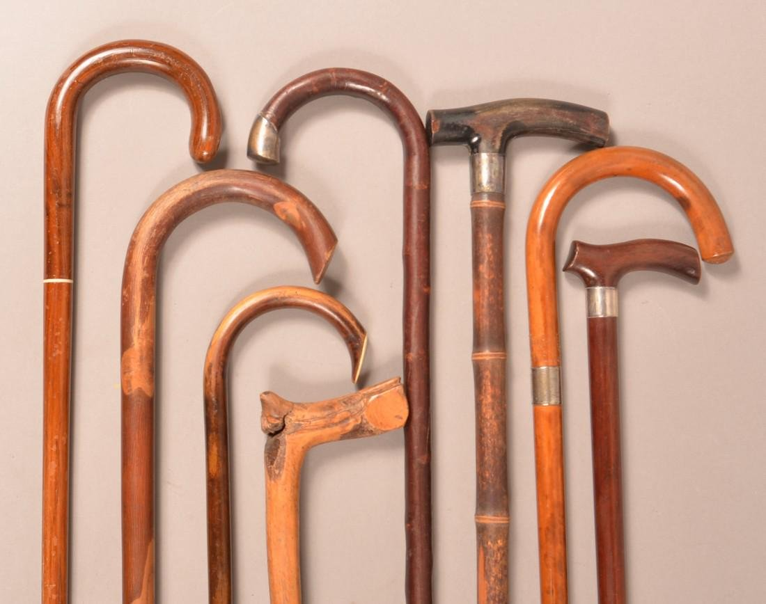Lot of Eight Antique/Vintage Wood Canes.