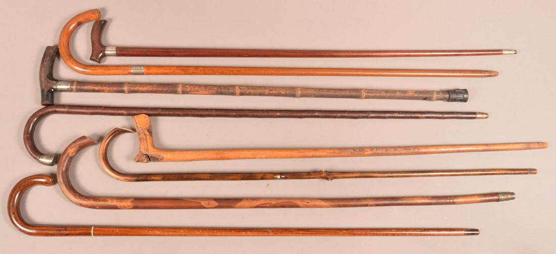 Lot of Eight Antique/Vintage Wood Canes. - 2