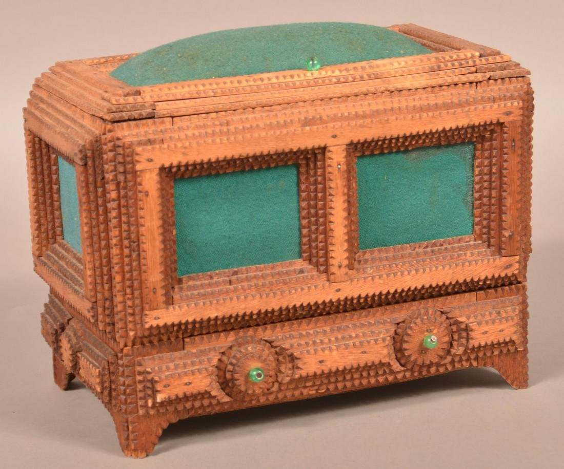 Antique Tramp Art Sewing Box.
