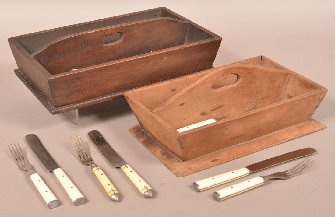 Two 19th century Wood Utensil Carriers.