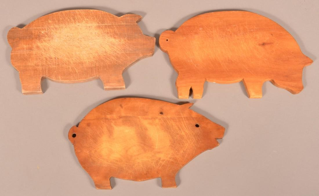 Three Antique/Vintage Pig Form Cutting Boards.