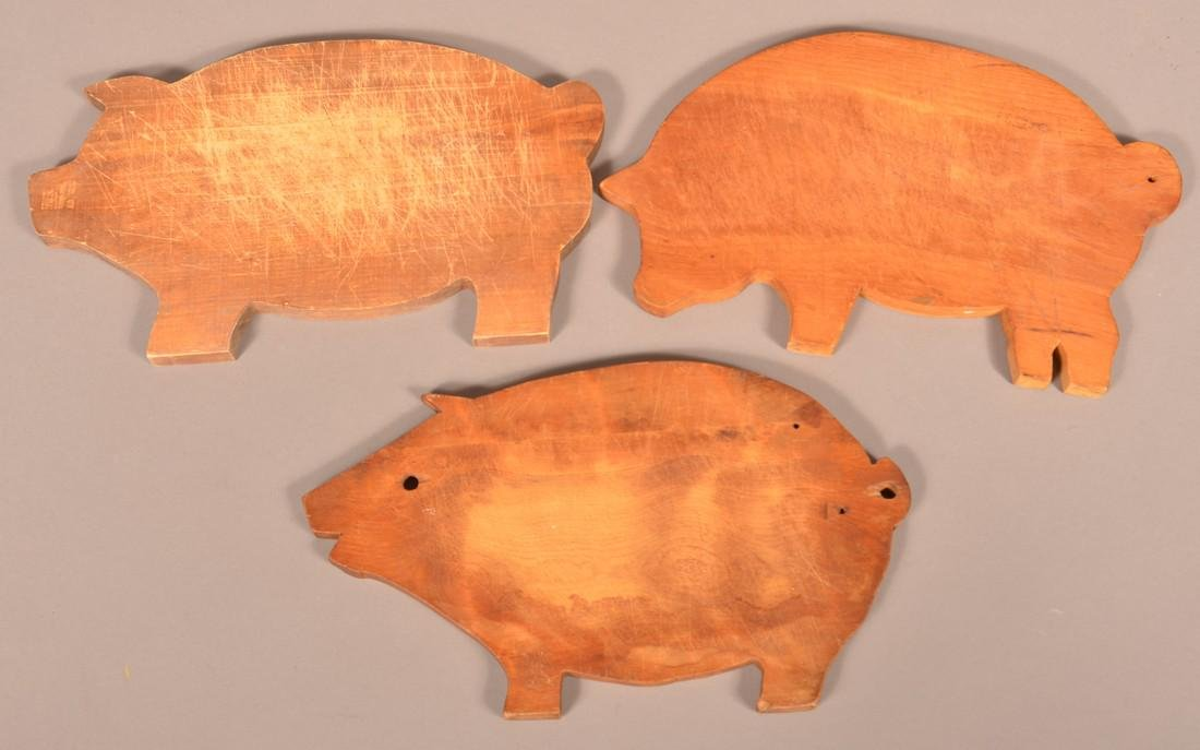 Three Antique/Vintage Pig Form Cutting Boards. - 2