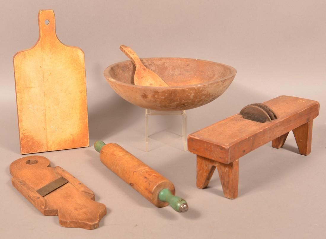 Six Antique/Vintage Wooden Utilitarian Wares.