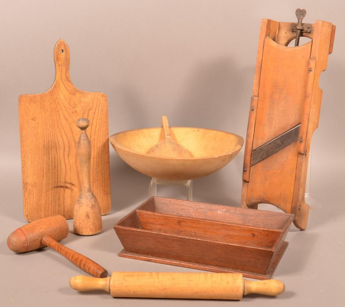 Eight Antique/Vintage Wooden Utilitarian Wares.