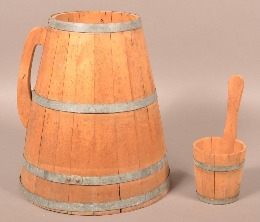 Wooden Stave Field Water Pail and Dipper.