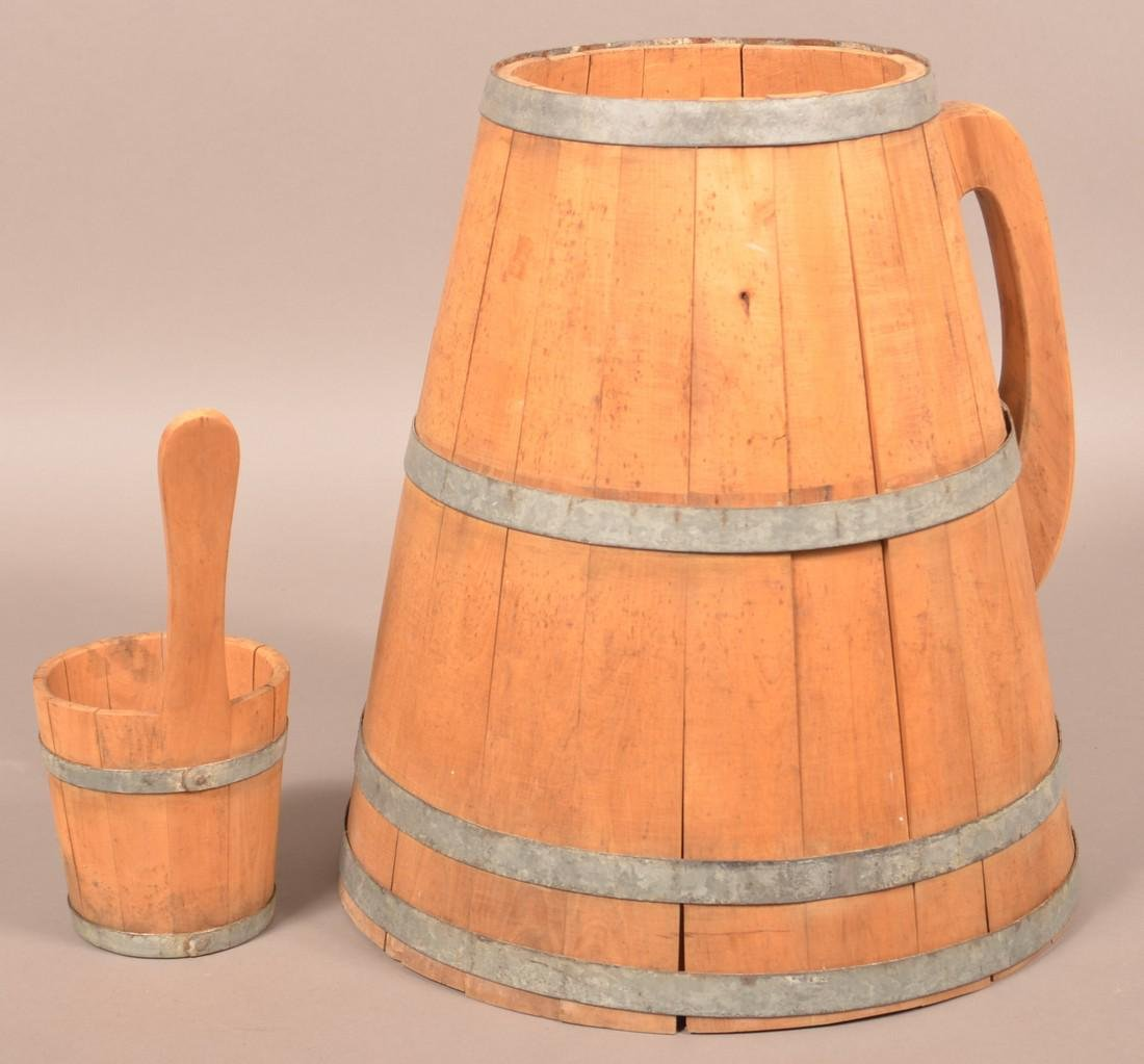 Wooden Stave Field Water Pail and Dipper. - 2