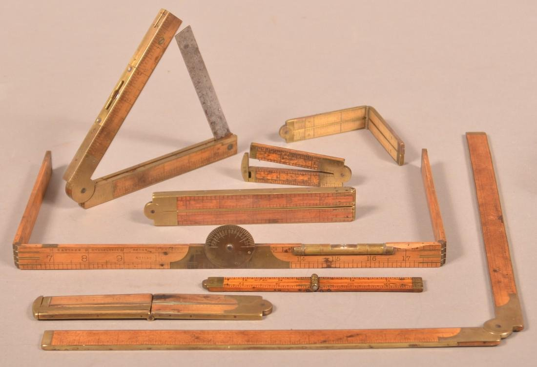 Eight Various Antique Boxwood Folding Rules. - 2