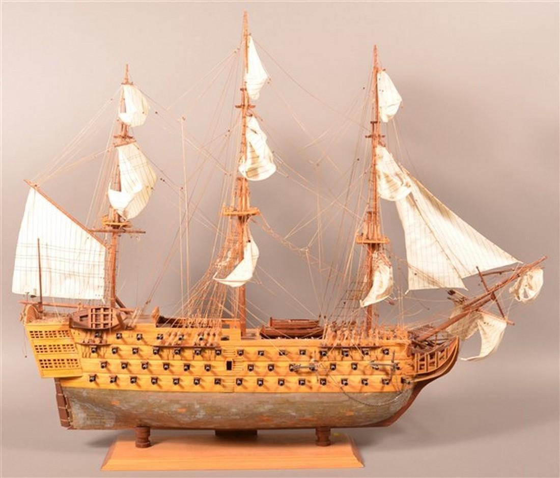 Vintage Wooden Spanish Galleon Ship Model. - 4