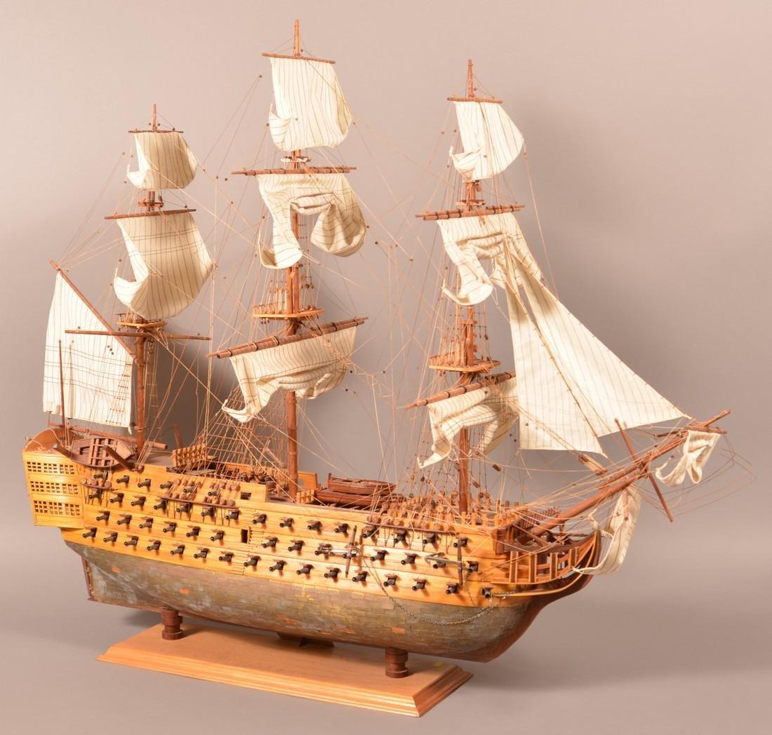 Vintage Wooden Spanish Galleon Ship Model. - 5
