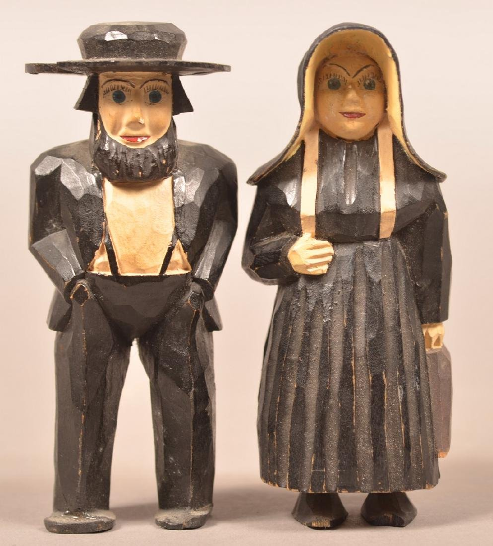Pair of Amish Figures Attr. to the Jail Carvers.
