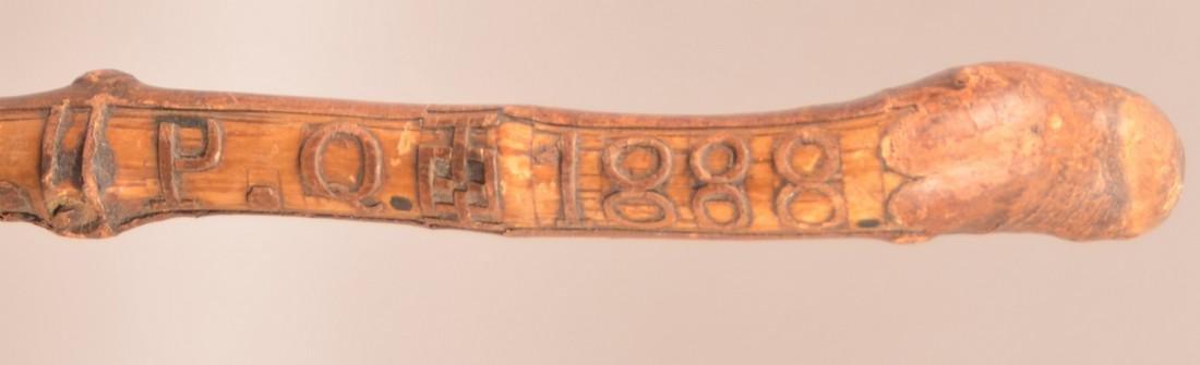 """Carved Cane """"MONT S.T. HILLAIRE. P.Q. 1888"""". - 2"""