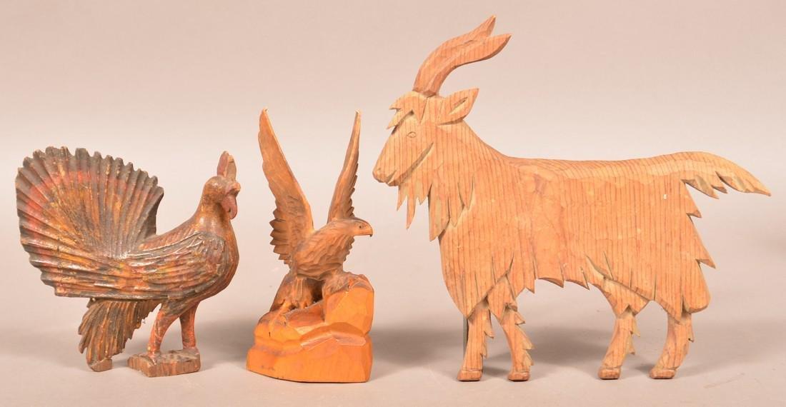 Three Various Antique/Vintage Wood Carvings.