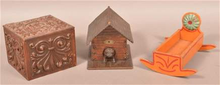 Three Various AntiqueVintage Wood Objects