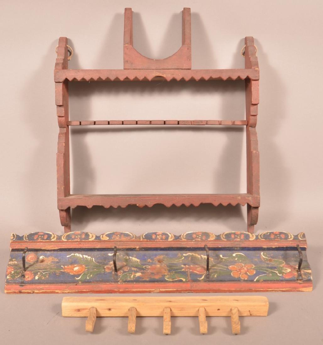 Three Various Antique Wood Wall Racks.